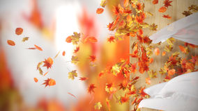 Falling and winding Autumn Leaves with curtains background. Falling and winding Autumn Leaves with curtains royalty free stock photos