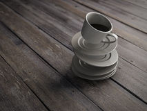 Falling on wooden board cup of coffee and saucer Stock Photography