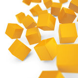 Falling yellow cubes Stock Images