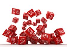 Fallingt Red Cubes. Falling Red Cubes with various percent discounts isolated over a white background Stock Photos