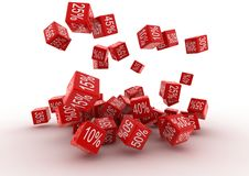 Fallingt Red Cubes Stock Photography