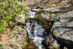 Fallingwater Cascades – Horizontal View. Horizontal view of Fallingwater Cascades located off the Blue Ridge Parkway at mile post 83.1 in Virginia Royalty Free Stock Images