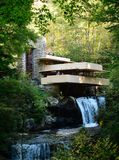 Fallingwater in the Fall. This is a Fall picture of the iconic Falligwater House located on the Bear Run River located in Mill Run, Pennsylvania in Lafayette stock photo