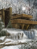 Fallingwater by Frank Lloyd Wright illustration Stock Photography