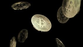 Fallling bitcoins on black background Stock Photography