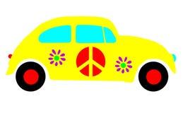 Fallo de funcionamiento del escarabajo de VW, símbolos del amor de la paz del Hippie aislados ilustración del vector