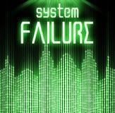 Fallo del sistema con el fondo cibernético del código binario Imagen de archivo