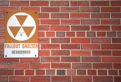 Fallout. A sign indicating the whereabouts of a fallout shelter Stock Photos