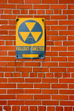 Fallout Shelter. Sign on a brick wall in New York, USA Stock Photos