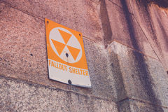 Fallout Shelter. A old fallout shelter sign on the side of an old military fort Royalty Free Stock Photography