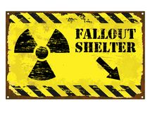 Fallout Shelter Radiation Sign. Grungy rusted enamel fallout shelter with radiation symbol sign vector illustration
