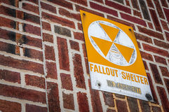 Fallout shelter. A sign indicating a specific building as a fallout shelter in case of a nuclear or biological attack over the United States Royalty Free Stock Photography
