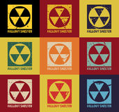 Fallout Shelter. Vintage Nuclear Symbol. Radioactive Zone Sign. Vector Illustration Royalty Free Stock Photos