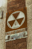 Fallout Shelter Vintage Sign. A vintage Fallout Shelter sign on the side of a building in downtown Buffalo, New York Stock Photography