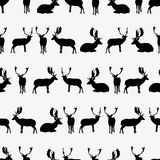 Fallow deer black silhouette seamless pattern Royalty Free Stock Photos
