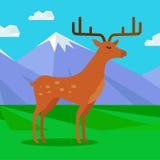 Fallow-deer in habitat Flat Design Illustration Stock Images