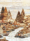 Falls, application from birch bark. Handmade: falls, application from slices of an underside of a birch bark stock illustration