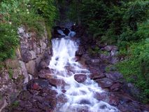 Falls and cascades on streams in the Linth River valley stock photos