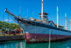 Falls of Clyde - Hawaii Maritime Museum. The last iron hulled, 4 masted, sail driven tanker. Declared a U.S. National Historic Landmark Stock Photo