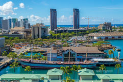 Falls of Clyde - Hawaii Maritime Museum. Looking down at the last iron hulled, 4 masted, sail driven tanker. Declared a U.S. National Historic Landmark Stock Photos