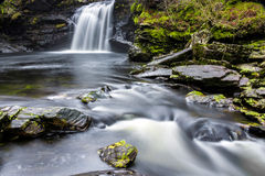 Falls of Falloch. Waterfall and rocky a pool of water Royalty Free Stock Photos