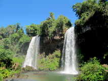 Falls Iguasu in Argentina. Two sisters. Most beautiful falls  Iguasu in national reserved park of Argentina Stock Images