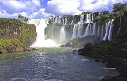 Falls Iguasu are waterfalls of the Iguazu River on the border of the Argentine province of Misiones and the Brazilian state of Par stock photos