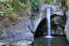 Falls in island Palawan jungle A panorama Philippines royalty free stock photo
