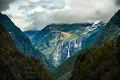 Falls in mountains of Norway after rain Royalty Free Stock Photography