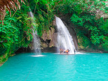 Falls in the Philippines deep in the forest royalty free stock photography