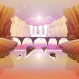 Falls and River Bridge. Fantasy Falls and River Bridge Stock Images