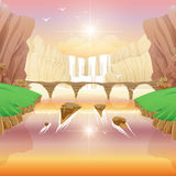 Falls and River Bridge. Fantasy Falls and River Bridge Royalty Free Stock Photos
