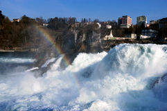 Falls of River Rhine, Switzerland. The Rhine Falls in between the cantons of Schaffhausen and Zurich. This natural landmark in Northern Switzerland is visited by Royalty Free Stock Photos