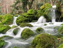 Falls on the small mountain river stock photos