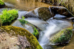 Falls on the small mountain river in a wood Royalty Free Stock Photo
