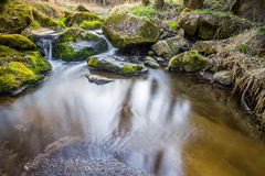 Falls on the small mountain river in a wood Stock Image