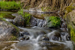 Falls on the small mountain river in a wood Royalty Free Stock Image