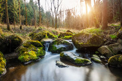 Falls on the small mountain river in a wood Stock Photos