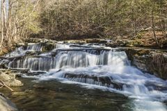 Falls on Stony Clove Creek. A multi-tiered waterfalls on Stony Clove Creek in Greene Country in the Catskill Mountains in Edgewood, New York Royalty Free Stock Photography