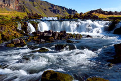 Falls between Vik and Hofn. River with small waterfalls effect moved Royalty Free Stock Photos