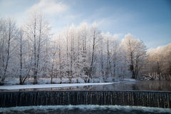 Falls in the winter. Royalty Free Stock Images