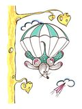 Fallschirmabsprung Skydiverfliegen mit Fallschirm lizenzfreie abbildung