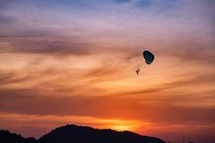 Fallschirme im Küstensonnenuntergang lizenzfreies stockfoto