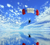 Fallschirmlandung Stockfotografie