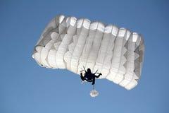 Fallschirmspringer auf blauem Himmel Stockbilder