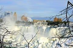 fallsniagara vinter Den amerikanska sidan av nedgångarna arkivfoto