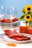 Fallthema-Abendtisch settin Lizenzfreies Stockfoto