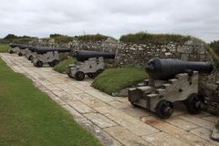 United Kingdom. Falmouth (England), UK - August 15, 2015: Cannon near Pendennis castle, Falmouth, Cornwall, England, United Kingdom royalty free stock photography