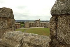United Kingdom. Falmouth England, UK - August 15, 2015: A view of Pendennis castle and park, Falmouth, Cornwall, England, United Kingdom royalty free stock image