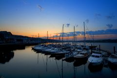 Falmouth Harbour Cornwall. Sunset over Falmouth Harbour Cornwall UK Stock Image